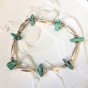 Vintage Liquid Silver Turquoise Nugget Bracelet